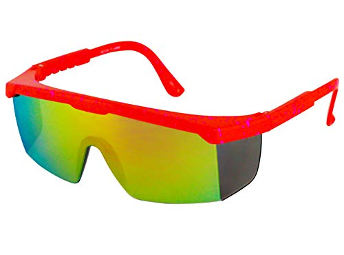 Semi Rimless Performance Wrap Around Sport Style Retro Mirrored Unisex Sunglasses (Orange)