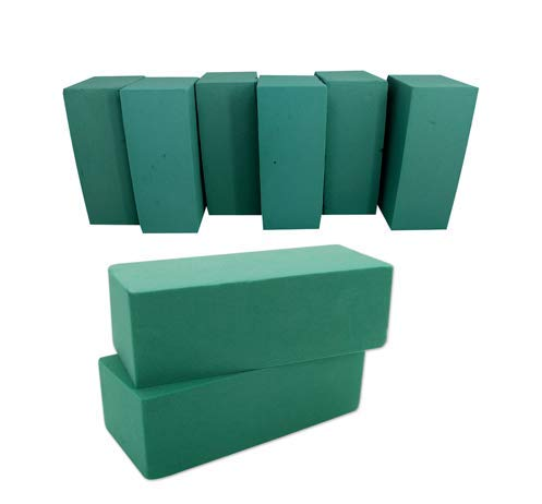 Floral Foam Blocks | Florist Flower Styrofoam Green Bricks Applied Dry or Wet | Set of 8