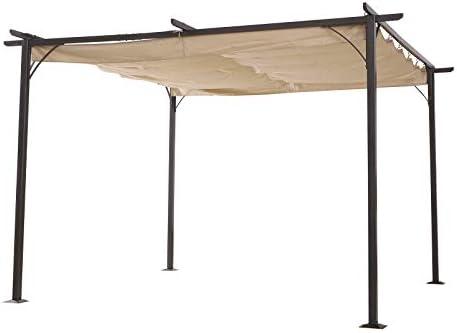 Outsunny Pérgola de Metal 3.5x3.5m Gazebo Cenador para Jardín Patio o Terraza con Techo Retráctil Tela Poliéster Resistente al Agua y UV: Amazon.es: Jardín