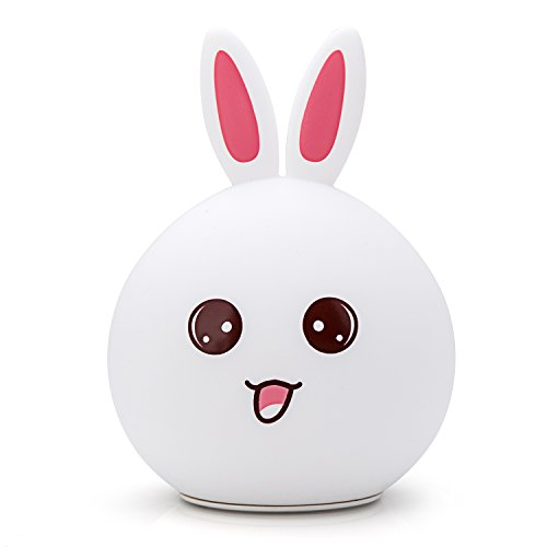 Goline Nursery Night Light, Cute Led Night Light, Kawaii Table Lamp, Bunny Nightlight for Children, Kids Lamps for Bedrooms, Bathroom Decor, Toddler Toys for Girls Age 1, Baby Gril Gifts.(NL011-PK)