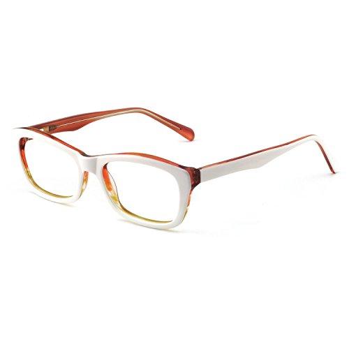 - OCCI CHIARI Fashion Rectangular Eyewear Frame Eyeglasses Optical Frame Clear Lens Glasses for Women (White/Orange)