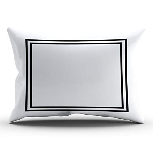 (WULIHUA Decorative Throw Pillow Covers Classic Black and White Monogram? Fine Zipper Pillowcases Throw Pillow Cushion Covers for Sofa One Side Printed King 20x36 Inches )