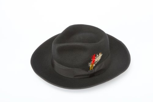 - New Mens 100% Wool Black Zoot Style Homburg Fedora Hat