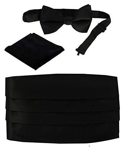Gioberti Kids/Boys' Adjustable Satin Cummerbund Set With Formal Bow Tie and Pocket Square, Black ()