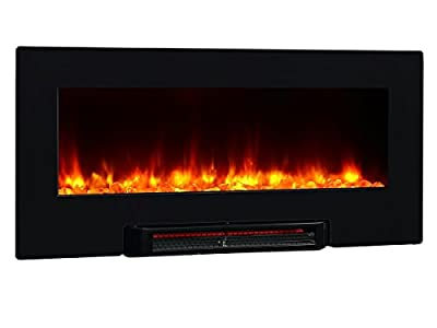 PuraFlame Provo 36- Inch Remote Control Portable & Wall Mounted Flat Panel Fireplace Heater, 1350W, Black