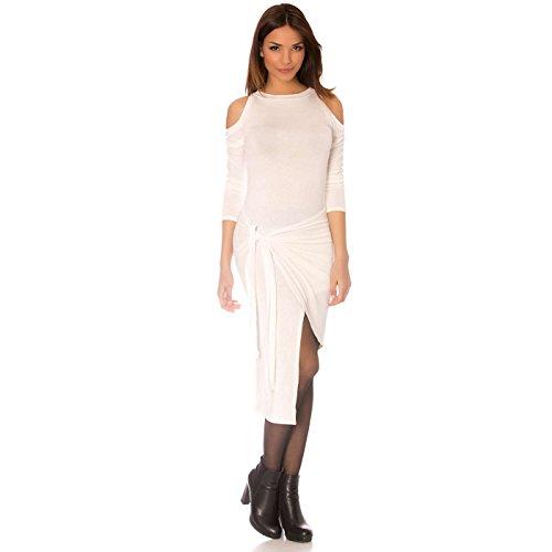 Miss Wear Line - Robe porte feuille blanche, asymétrique et épaule nue