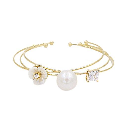 Bracelets Lee Designer (B4272ZY-Baroque Pearl Luxury Bangle Flower Bracelet Anniversary Birthday Gift Jewellery)