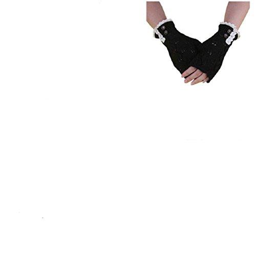 Guantes calientes para Mujeres,Ouneed ® Moda punto botón hueco hacia fuera hoja guantes caliente Negro