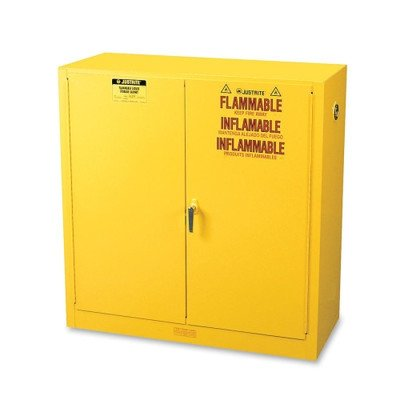 JUSTRITE MANUFACTURING 893000 Yellow 18 Gauge CR Steel Sure-Grip EX Flammable Safety Cabinet, 2 Manual Close Doors, 30 gal Capacity, 44
