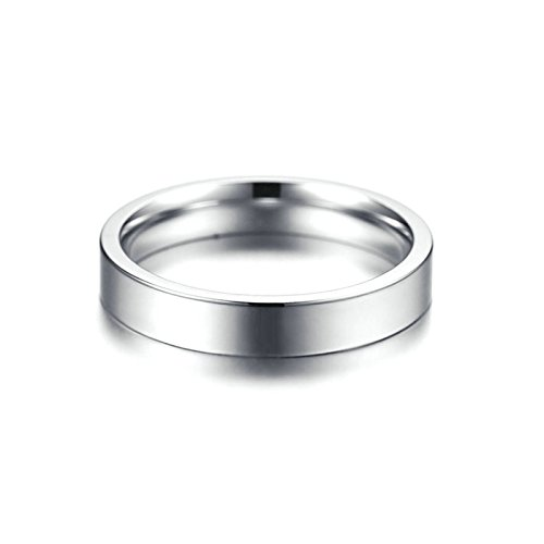 Beydodo Womens Rings, Stainless Steel Classic Ring 4MM Wedding Band Brides Silver Size 9