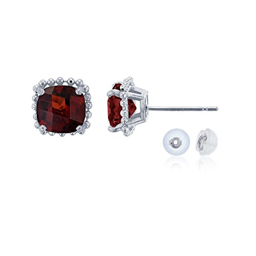 14K White Gold 6x6mm Cushion Cut Garnet Bead Frame Stud Earring with Silicone Back