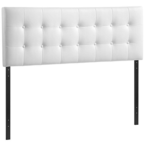 Modway Emily Upholstered Tufted Button Fabric King Size Headboard In White - Make King Size Headboard