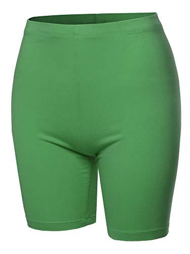 A2Y Basic Solid Cotton Mid Thigh High Rise Biker Bermuda Shorts Kiwi 1XL -