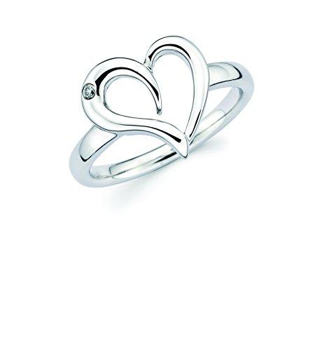 Boston Bay Diamonds 925 Sterling Silver Diamond Accent Love Heart Ring (I Color, I1 Clarity) - Diamond Shaped Gemstone Ring