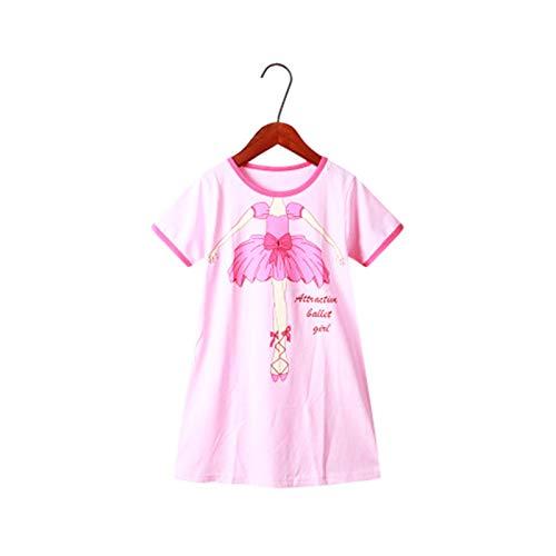 LOKKSI Kattenbeertje voor meisjes, nachtjapon, grappig, patroon, nachthemden, 100% katoen, nachtkleding, voor 3-12 jaar