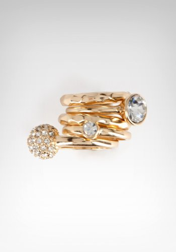bebe Hammered Rhinestone Stackable Rings