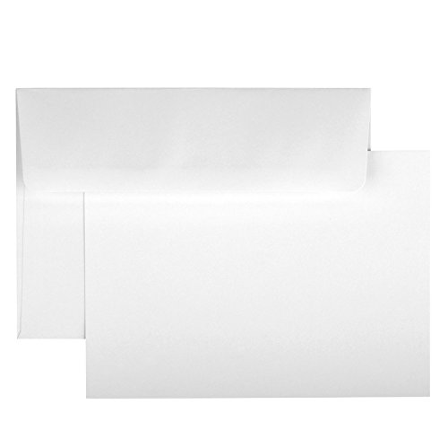 Blank White Cards & Envelopes - 50 Pack Flat, No Fold Greeting (Photo Graduation Announcements)