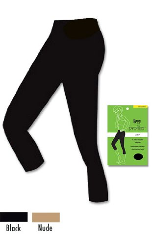 L'eggs Women's Profiles Capri Shapewear, Black, X-Large