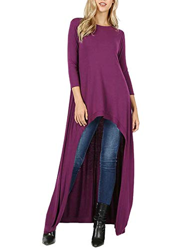 MixMatchy Women's 3/4 Sleeve High Low Casual Long Maxi Tunic Tops Plum L