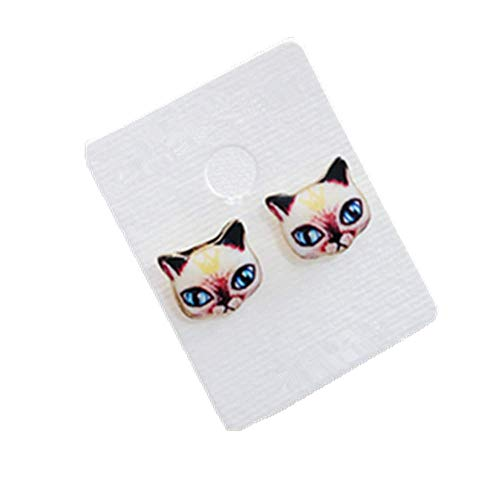 (mywaxberry Cat Stud Earrings Animal Prevent Allergy Ear Studs (Yellow Siamese cat))