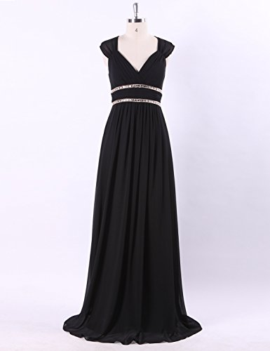 negro 08697 de para para elegante mujer largo noche Ever de Negro Vestido Pretty con escote pico 44 qSBxwHnZ