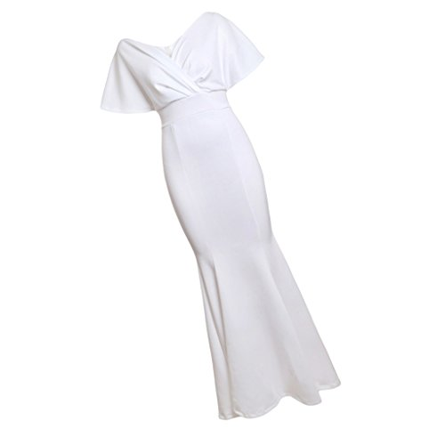 Maxi s Fiesta Club Noche Novia Dama Vestido Baoblaze Nocturna Mujeres blanco Ropa de Cena Honor fCwFFxq6