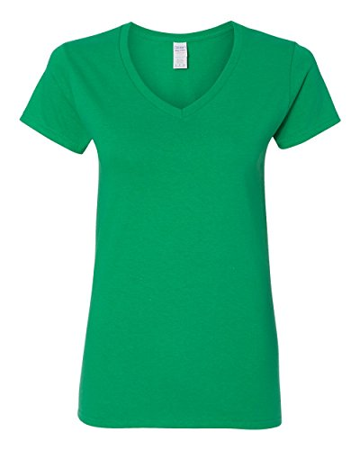 Irish Womens V-neck T-shirt - Gildan Heavy Cotton Ladies' V-Neck T-Shirt, Irish Green, XX-Large