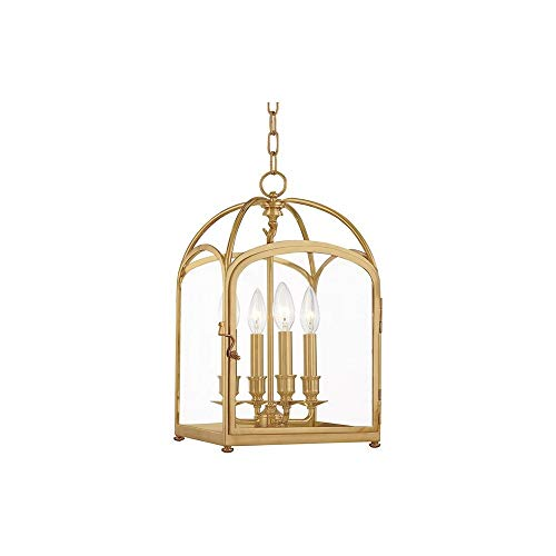 (Hudson Valley 6480-AGB, Oxford Square Pendant, 4 Light, 240 Total Watts, Brass)