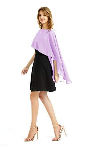 Soft Chiffon Shawls and Wraps women Soft Shrugs Evening Dresses Bridesmaid Stole (Lavender) ()