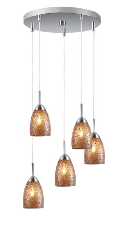 - Woodbridge Lighting 13225STN-M20AMB Venezia 5-Light 5-Port Mini Pendant Cluster, 13-Inch by 84-Inch Maximum, Satin Nickel