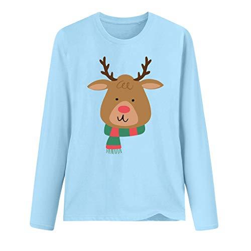Franterd Merry Christmas Shirt Letter Leopard Deer Print Casual O Neck Long Sleeve T-Shirt Top Blouse Pullover