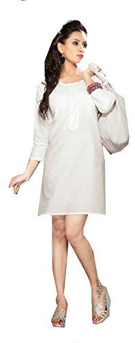 Jayayamala Belle tunique blanche enrichis tissu de coton avec col rond et au-dessus du genou