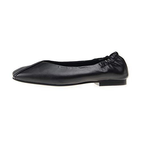 Frayed Seams Womens BalaMasa Leather Structured Pumps Pleated Shoes APL11113 Black qAEdFwt