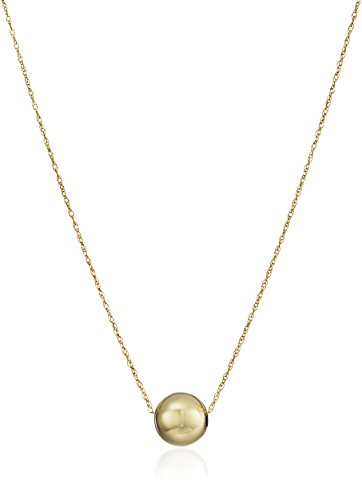14k Yellow Gold Bead Pendant Necklace, 18