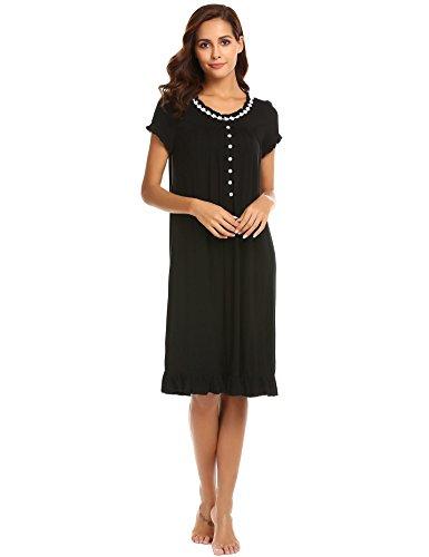 Knee Length Nightgown - Vanilo Women's O Neck Short Sleeve Knee Length Nightgown