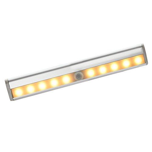 Skitic 1 stk Automatische 10 LED Lichtleiste Aluminiume Schalen Infrarot Bewegungsmelder Batterie Betriebener Superhelle Intelligentes Nachtlicht Lampen mit Magnetstreifen für Schrank Wandschrank Schubladen Stämme Schritt (Warmweiß)