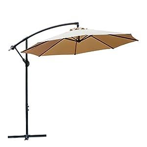 FARLAND 10 Ft Offset Cantilever Patio Umbrella Outdoor Table Market Hanging  Umbrellas With Cranks, 8 Ribs (Beige)