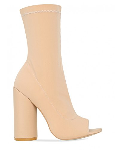 LAMODA Womens Open Toe Ankle Boots in Lycra Nude rskgkq0