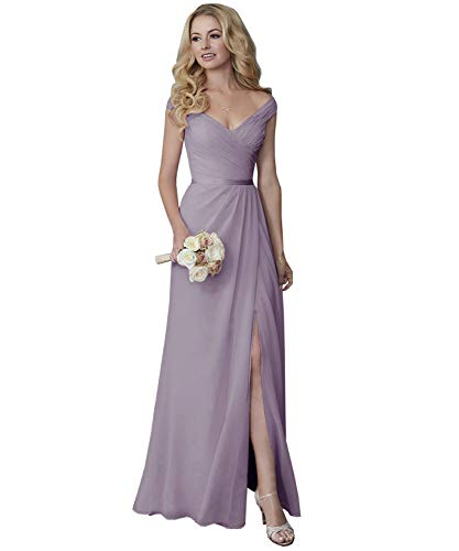 Yilis Off The Shoulder V-Neck Slit Ruched Chiffon Long Bridesmaid Dress Formal Party Dress Wisteria 10 -