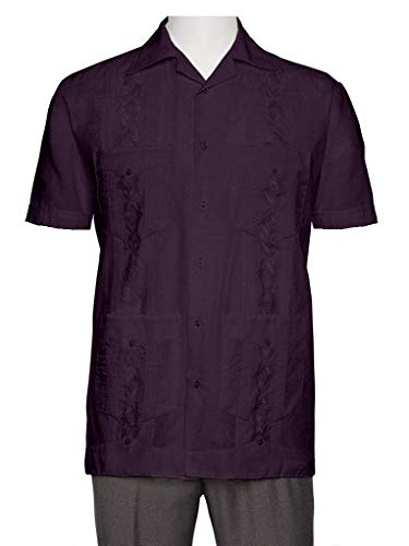 (Gentlemens Collection Embroidered Guayabera Shirts for Men - guayaberas para Hombres Purple 2X )