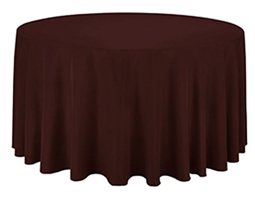 TEKTRUM 120 INCH ROUND POLYESTER TABLECLOTH - THICK/HEAVY DUTY/DURABLE FABRIC - CHOCOLATE COLOR