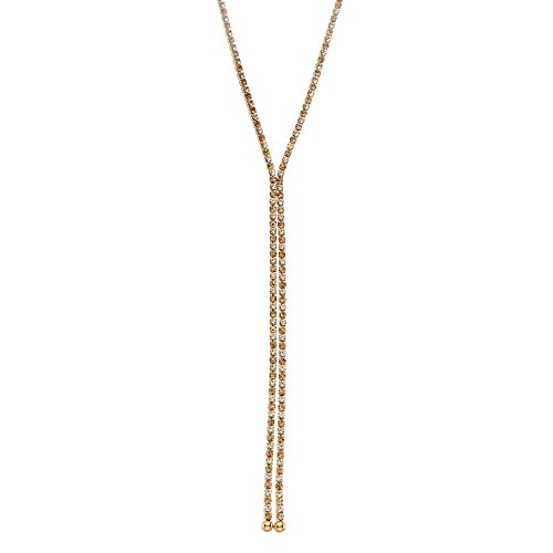 Collection Bijoux 14K Gold Plated Dangle Necklace with Multicolor Crystals, 16