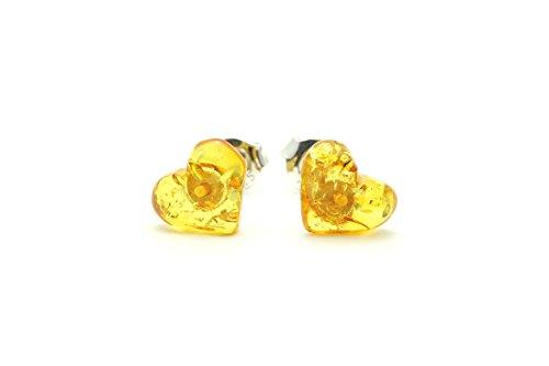 Heart Shape Honey Baltic Amber Stud Earrings