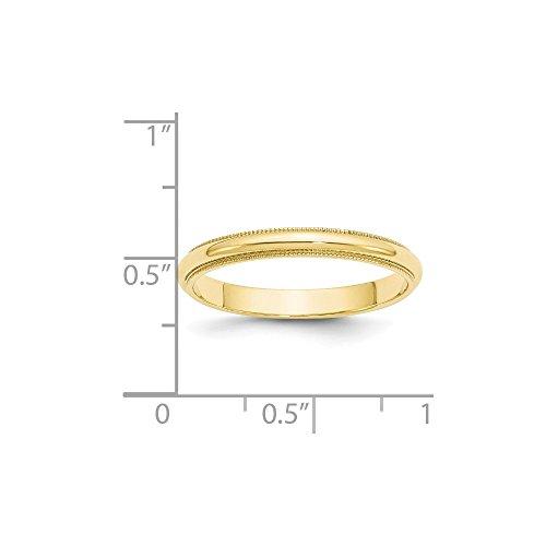 10k Yellow Gold 3mm Milgrain Half Round Mens Womens Wedding Anniversary Band Size 11