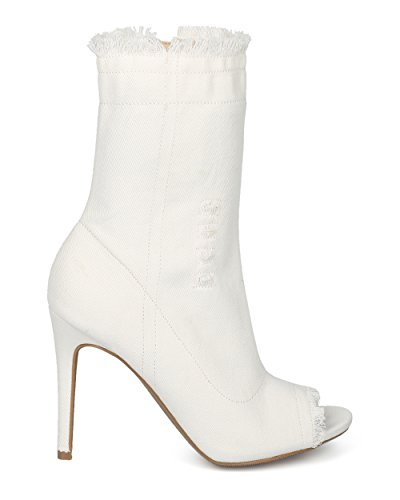 Stivaletto Alla Caviglia Attillato Sfoderato Da Donna Alrisco Da Donna - Hg08 By Wild Diva Collection White Denim