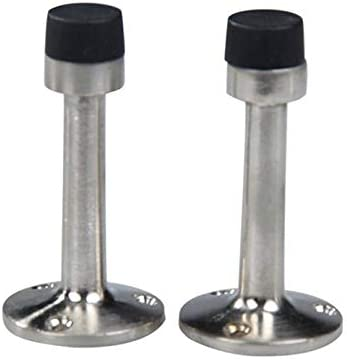 Color: Silver 2Pcs Cylinder Stainless Steel Door Stop Door Stoppers Stopper 75mm Buffer Wall Mounted