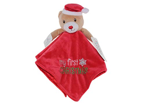 Babys My First Christmas Plush Teddy Bear Santa Snuggle Blanket Rattle