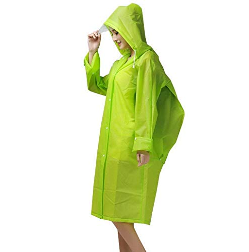Liso Capucha Impermeable Haidean Grün Adulto Al Travesía Libre Cordón Modernas Color Casual Con Aire Poncho Lluvia Hfv6wxfq