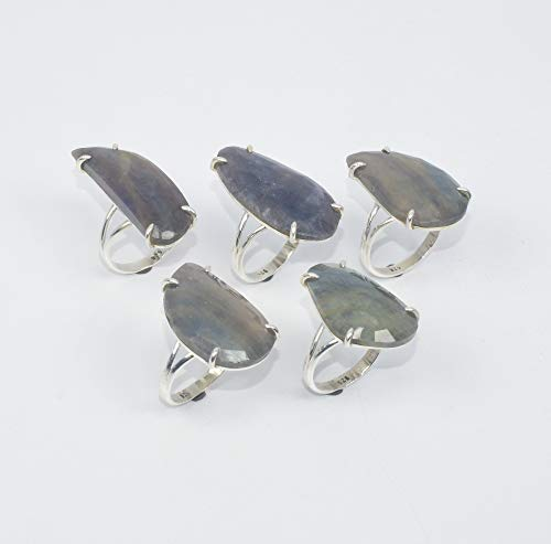 VICTORIANJEWELS Wholesale 5PC 925 Solid Sterling Silver Natural Multi Sapphire Ring LOT