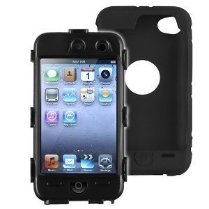 Hybrid Case compatible with Apple iPod touch 4th Generation, Black Hard / Black Skin